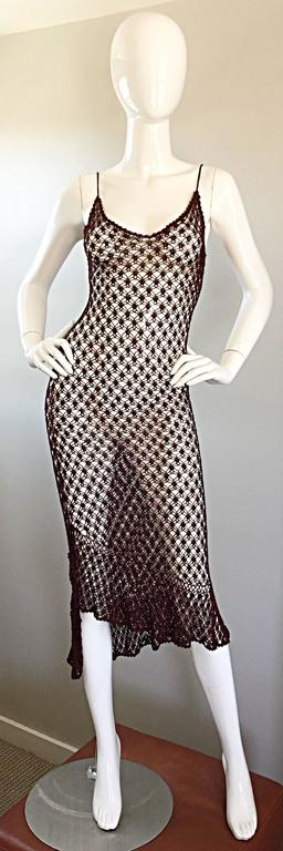 1970s Vintage Brown Hand Crochet Chocolate Silk Rayon 70s Boho Semi Sheer Dress 9