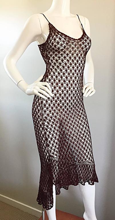 1970s Vintage Brown Hand Crochet Chocolate Silk Rayon 70s Boho Semi Sheer Dress 7