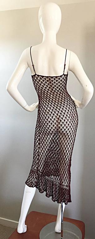 1970s Vintage Brown Hand Crochet Chocolate Silk Rayon 70s Boho Semi Sheer Dress 5