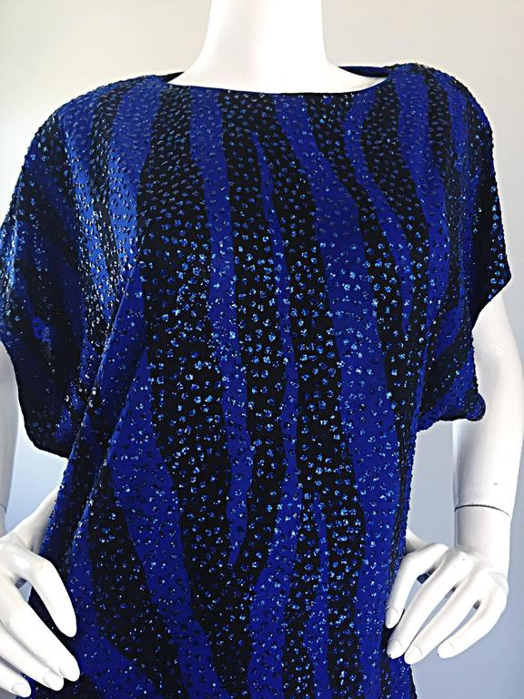 Vintage Neiman Marcus Royal Blue Black Zebra Print