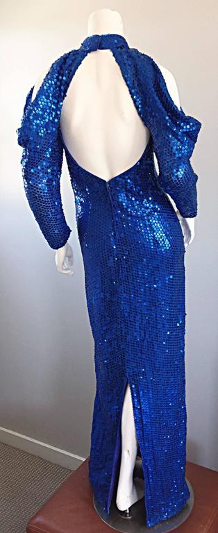 1970s Royal Blue Sequin Sexy Cut Out Studio 54 Vintage