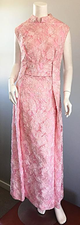 1960s Couture Raffia Silk Couture Light Pink Metallic Jackie - O Gown 60s Dress For Sale 5