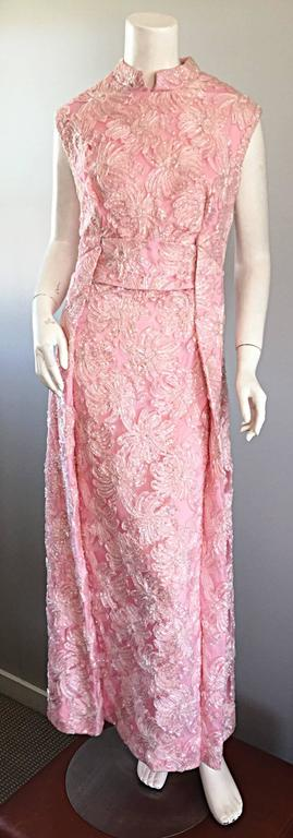 1960s Couture Raffia Silk Couture Light Pink Metallic Jackie - O Gown 60s Dress 3