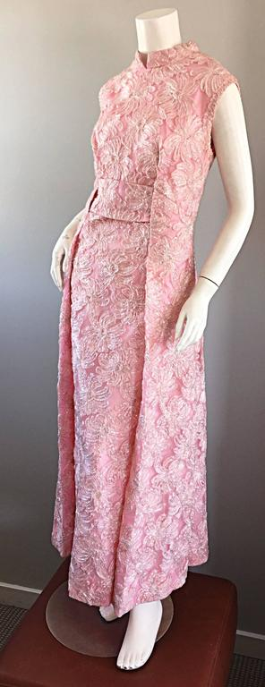 1960s Couture Raffia Silk Couture Light Pink Metallic Jackie - O Gown 60s Dress 4