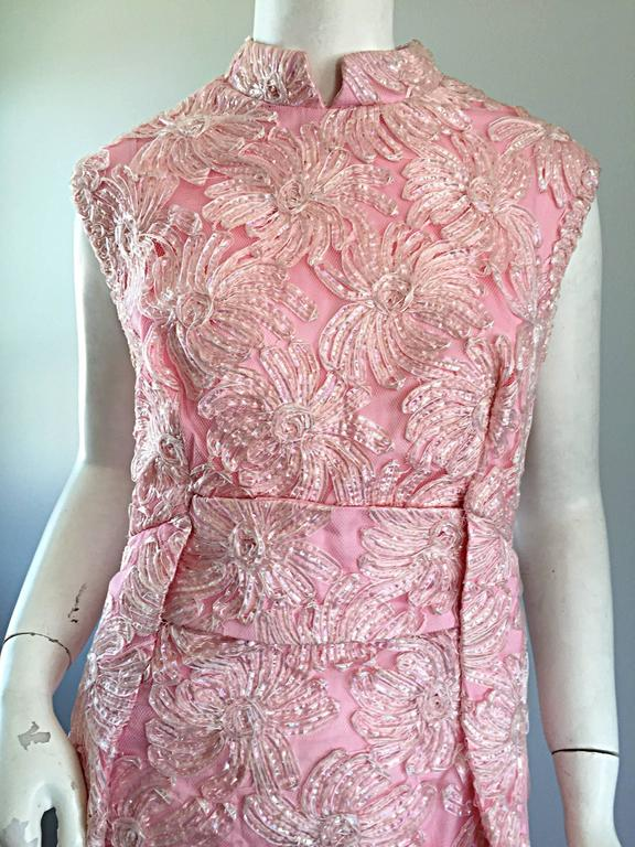 Incredible vintage 1960s / 60s full length pink silk + raffia evening gown! Channels the late great Jackie Kennedy - Onasis! Light pink silk gown, embroidered with iridescent raffia throughout. Two flattering pleats on either side of this column
