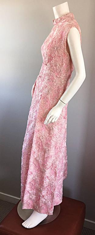 1960s Couture Raffia Silk Couture Light Pink Metallic Jackie - O Gown 60s Dress For Sale 2