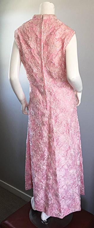 1960s Couture Raffia Silk Couture Light Pink Metallic Jackie - O Gown 60s Dress For Sale 4