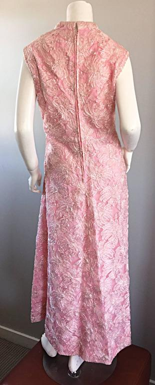 1960s Couture Raffia Silk Couture Light Pink Metallic Jackie - O Gown 60s Dress For Sale 1