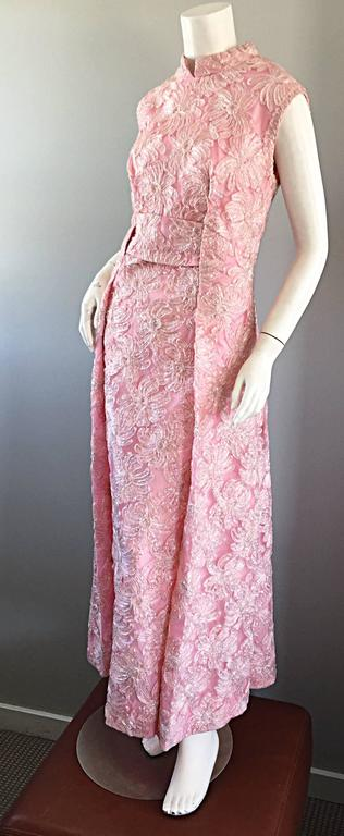 1960s Couture Raffia Silk Couture Light Pink Metallic Jackie - O Gown 60s Dress For Sale 3