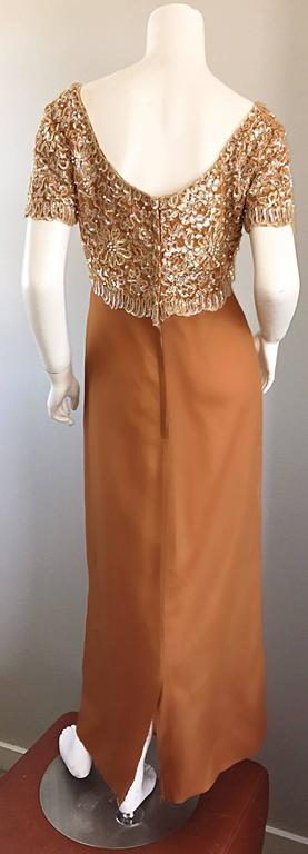 Beautiful 1960s Emma Domb Terracotta Vintage Tan Chiffon 60s Sequin Beaded Gown 5