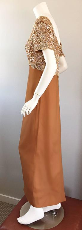 Beautiful 1960s Emma Domb Terracotta Vintage Tan Chiffon 60s Sequin Beaded Gown For Sale 2