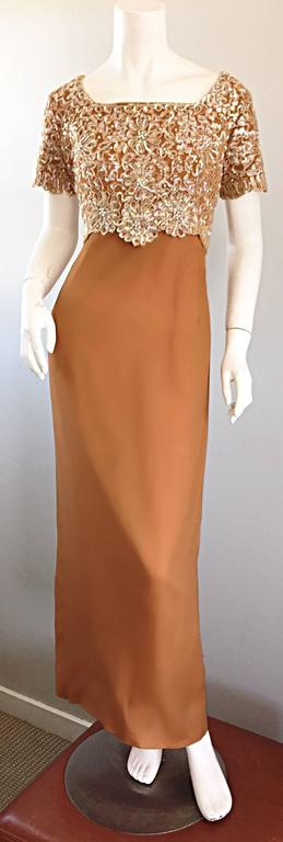 Beautiful 1960s Emma Domb Terracotta Vintage Tan Chiffon 60s Sequin Beaded Gown For Sale 3