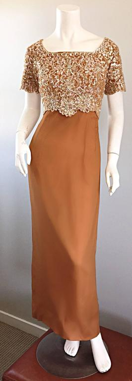 Beautiful 1960s EMMA DOMB terra cotta / light brown silk chiffon full length short sleeve evening dress! Features hand-sewn iridescent sequins, raffia, beads, and pearls throughout the entire front and back of the fitted bodice. Multiple layers of