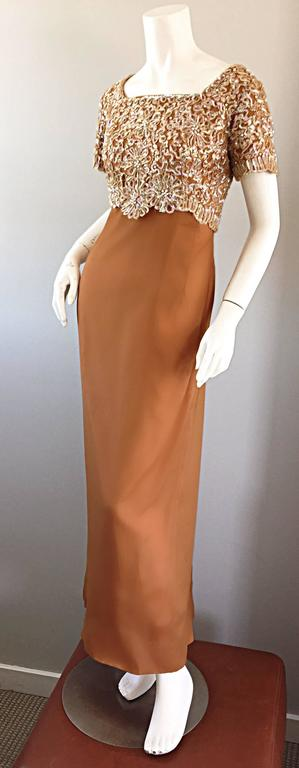 Beautiful 1960s Emma Domb Terracotta Vintage Tan Chiffon 60s Sequin Beaded Gown In Excellent Condition For Sale In San Francisco, CA