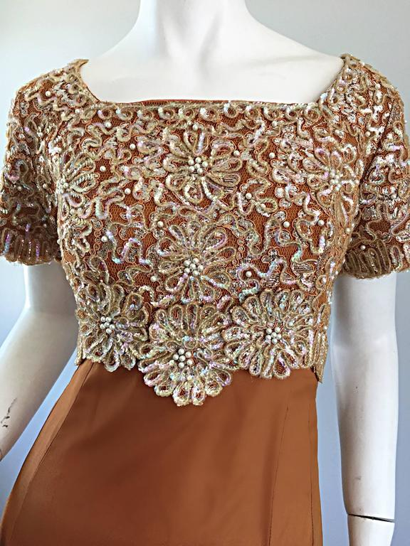 Brown Beautiful 1960s Emma Domb Terracotta Vintage Tan Chiffon 60s Sequin Beaded Gown For Sale