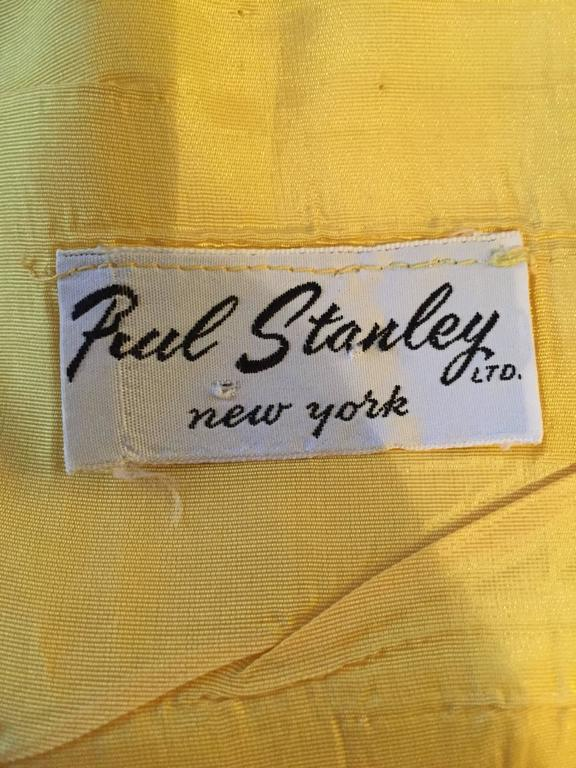 1960s Paul Stanley New York Canary Yellow Vintage Linen 60s A - Line Shift Dress For Sale 6