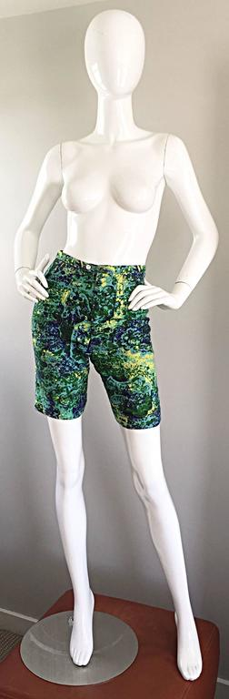 Rare 1960s Vintage Joseph Magnin Mr. Pants High Waisted Watercolor 60s Shorts For Sale 4