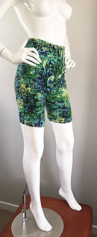 Rare 1960s Vintage Joseph Magnin Mr. Pants High Waisted Watercolor 60s Shorts For Sale 2