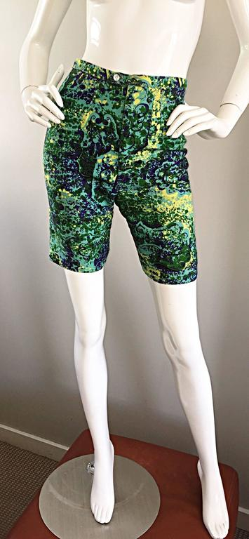 Women's Rare 1960s Vintage Joseph Magnin Mr. Pants High Waisted Watercolor 60s Shorts For Sale