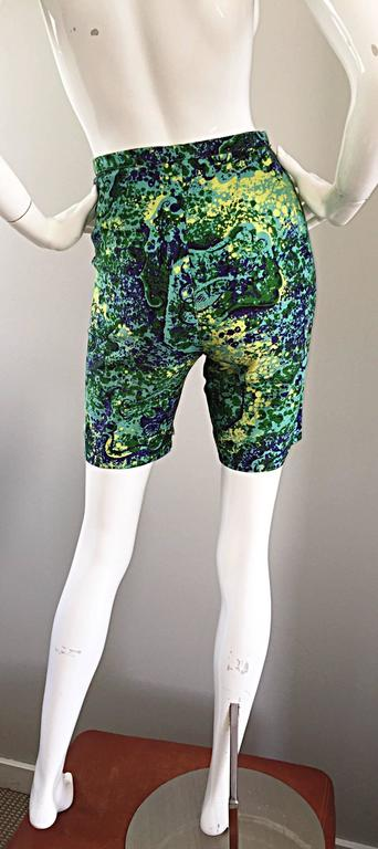 Rare 1960s Vintage Joseph Magnin Mr. Pants High Waisted Watercolor 60s Shorts For Sale 3
