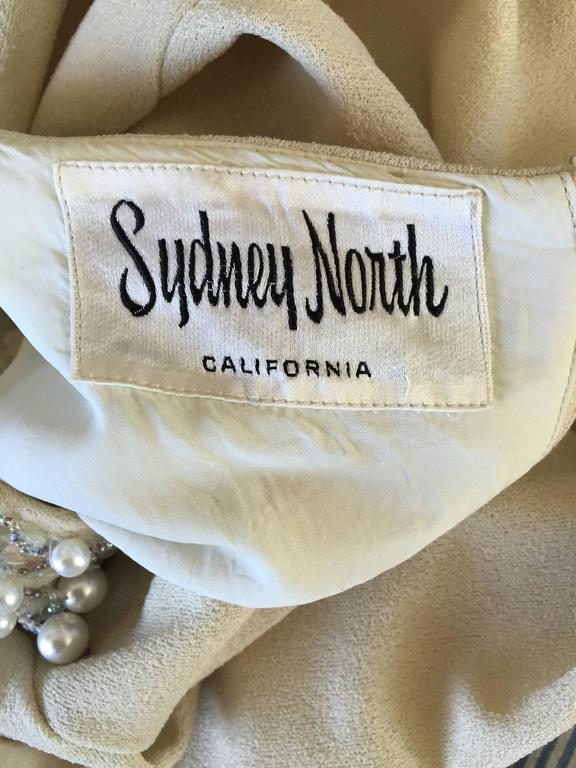 1960s Sydney North Beige Crepe Jersey Oversize Pearl Sequin Wiggle Dress Medium 10