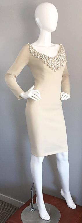 1960s Sydney North Beige Crepe Jersey Oversize Pearl Sequin Wiggle Dress Medium 4