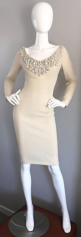 1960s Sydney North Beige Crepe Jersey Oversize Pearl Sequin Wiggle Dress Medium 9