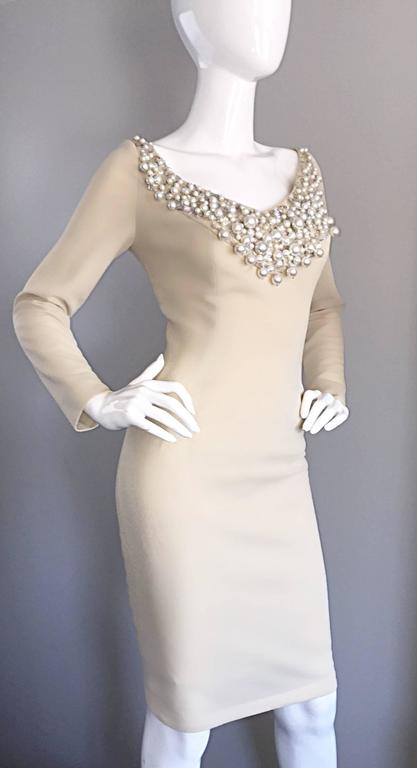 1960s Sydney North Beige Crepe Jersey Oversize Pearl Sequin Wiggle Dress Medium 6