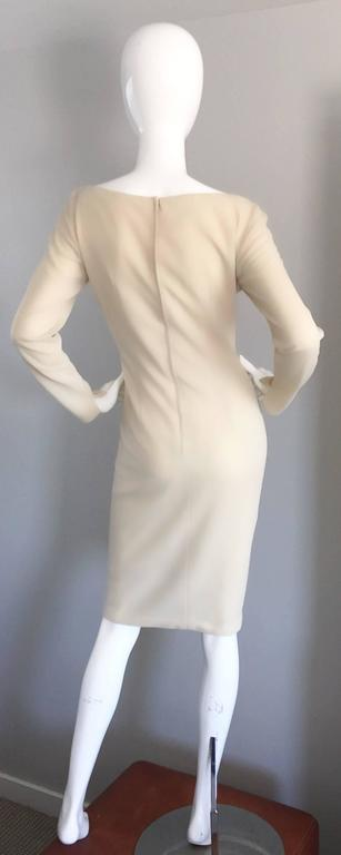 1960s Sydney North Beige Crepe Jersey Oversize Pearl Sequin Wiggle Dress Medium 5