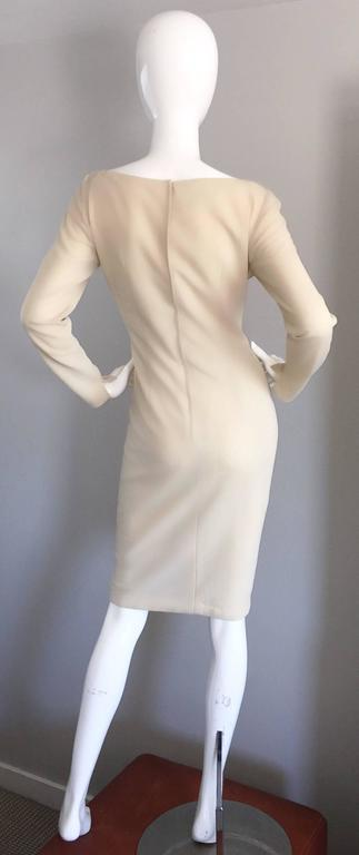 1960s Sydney North Beige Crepe Jersey Oversize Pearl Sequin Wiggle Dress Medium 8
