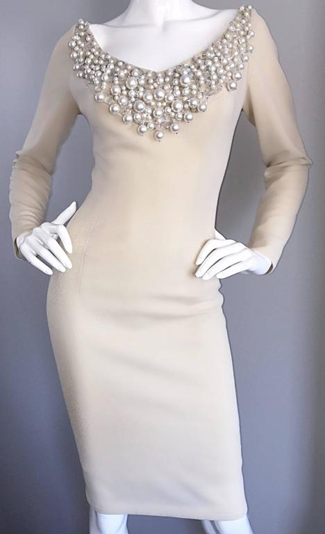 1960s Sydney North Beige Crepe Jersey Oversize Pearl Sequin Wiggle Dress Medium 7