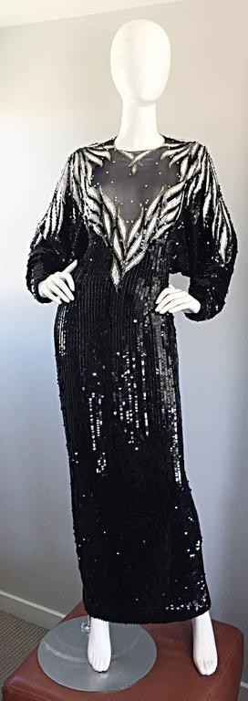 Incredible Vintage Bob Mackie Couture Custom Made Black Silk Sequin Beaded Gown  2