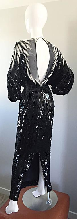 Incredible Vintage Bob Mackie Couture Custom Made Black Silk Sequin Beaded Gown  3