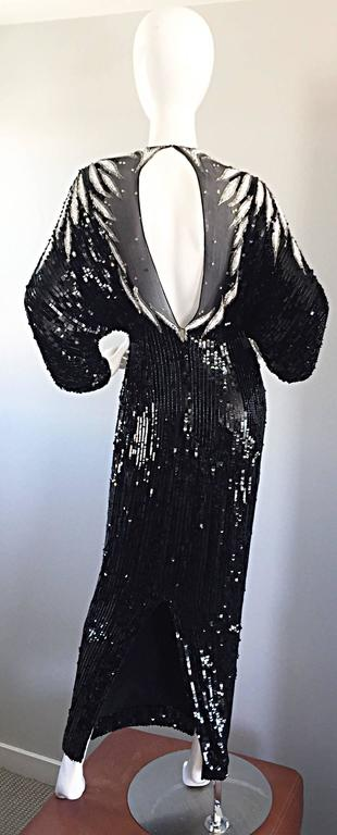 Incredible Vintage Bob Mackie Couture Custom Made Black Silk Sequin Beaded Gown  6