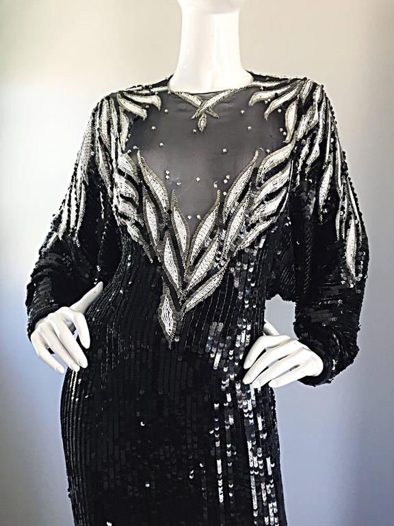Incredible Vintage Bob Mackie Couture Custom Made Black Silk Sequin Beaded Gown  4