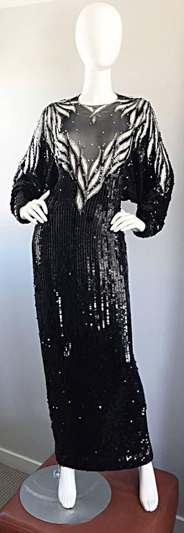 Incredible Vintage Bob Mackie Couture Custom Made Black Silk Sequin Beaded Gown  9