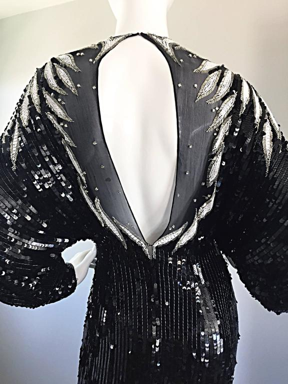 Incredible Vintage Bob Mackie Couture Custom Made Black Silk Sequin Beaded Gown  7