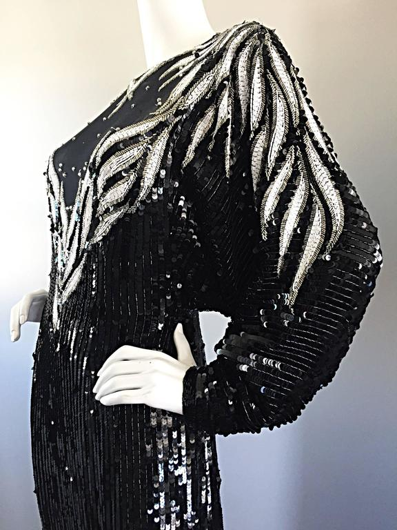 Bob Mackie Vintage Couture Custom Made Black Silk Sequin Beaded Gown  For Sale 4