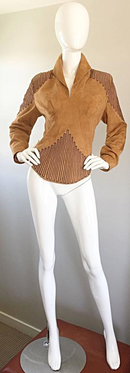 Brown Amazing Vintage Jean Claude Jitrois Couture Numbered Leather Suede Tunic Top For Sale