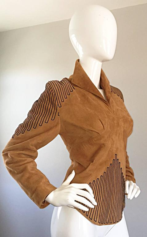 Amazing Vintage Jean Claude Jitrois Couture Numbered Leather Suede Tunic Top For Sale 2