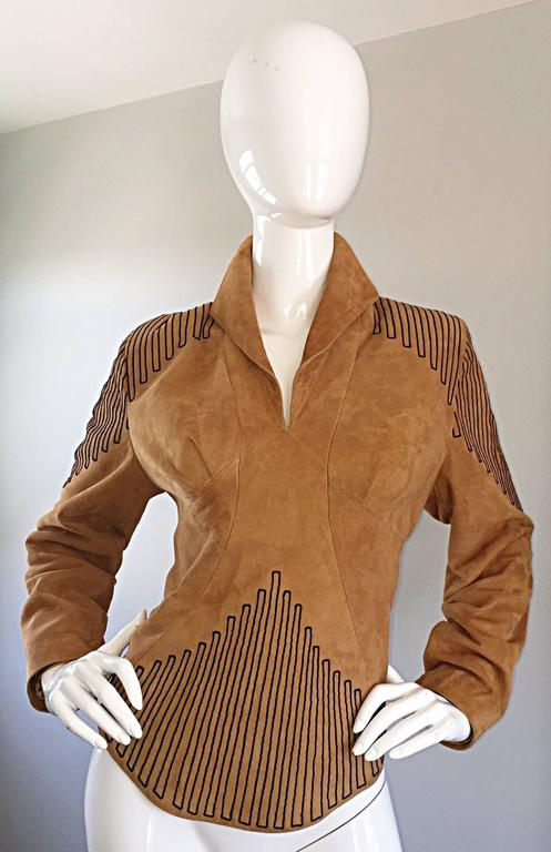 "Amazing vintage JEAN CLAUDE JITROIS Couture (Numbered) tan / brown suede bodycon tunic top jacket! Hand sewn, with hand embroidered black threading at center waist, shoulders, hem, and ""Jean Claude Jitrois"" signature at back left bottom hem. Full"