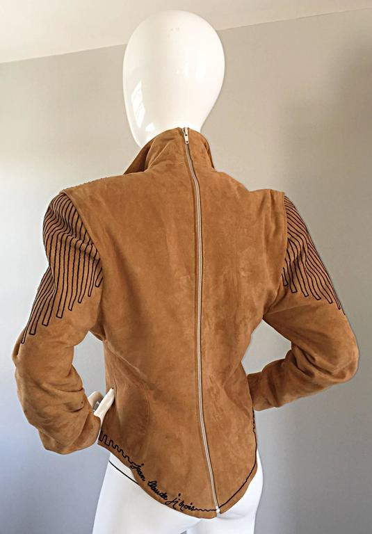 Amazing Vintage Jean Claude Jitrois Couture Numbered Leather Suede Tunic Top In Excellent Condition For Sale In San Francisco, CA