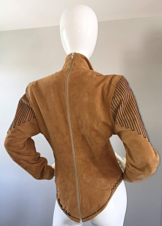 Amazing Vintage Jean Claude Jitrois Couture Numbered Leather Suede Tunic Top For Sale 3