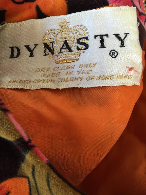 1960s Dynasty Pink + Orange + Brown Velvet Vintage Late 60s Flower Maxi Dress For Sale 3