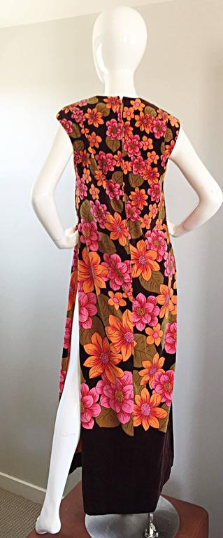 1960s Dynasty Pink + Orange + Brown Velvet Vintage Late 60s Flower Maxi Dress In Excellent Condition For Sale In Chicago, IL