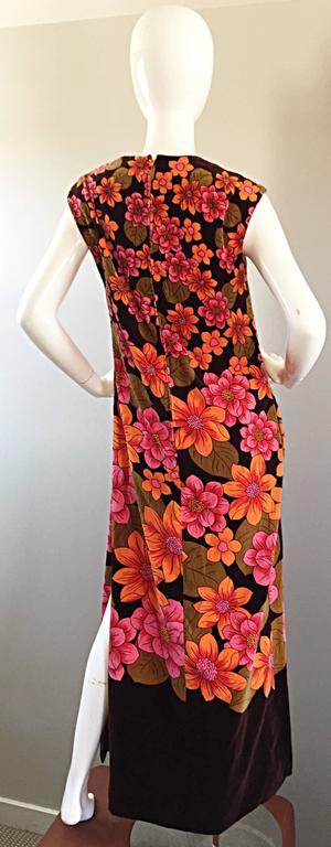 1960s Dynasty Pink + Orange + Brown Velvet Vintage Late 60s Flower Maxi Dress For Sale 1