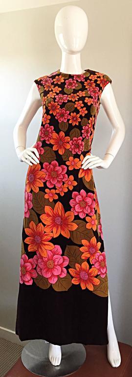 1960s Dynasty Pink + Orange + Brown Velvet Vintage Late 60s Flower Maxi Dress For Sale 2