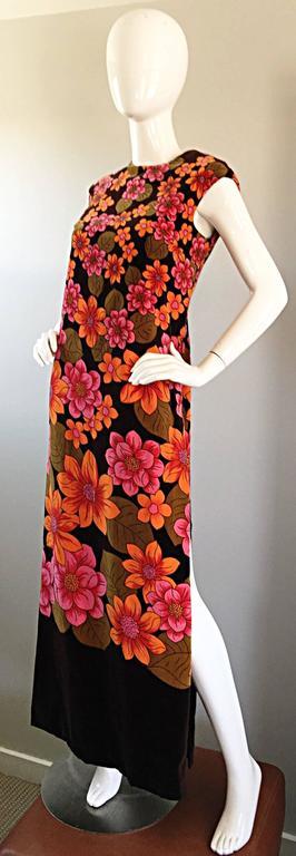 Red 1960s Dynasty Pink + Orange + Brown Velvet Vintage Late 60s Flower Maxi Dress For Sale
