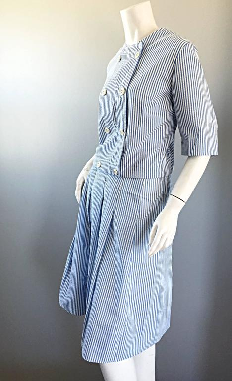 Purple 1960s Florence Walsh Vintage Seersucker Blue and White Striped Cotton 60s Suit For Sale