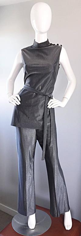 Vintage 1970s Gunmetal Silver Three Piece 70s Belted Tunic & Flared Leg Trousers 4